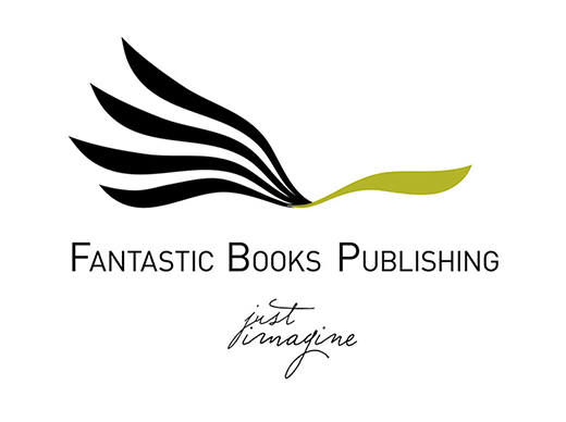 logo and tag of fantastic books publishing - just imagine