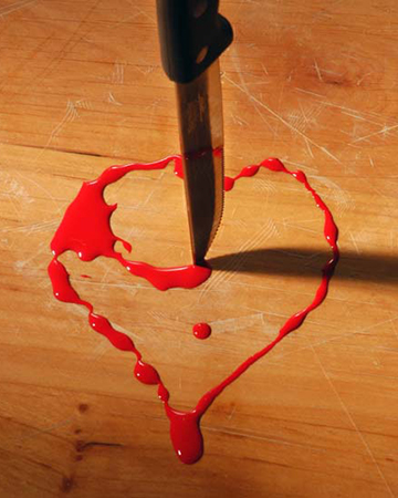 Bloody heart and pen
